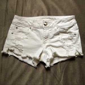 White Distressed Denim AEO Shorts
